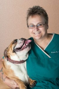 Veterinarian staff with her bull dog