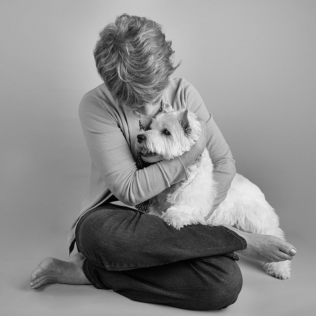 Affection between a Westie and her owner